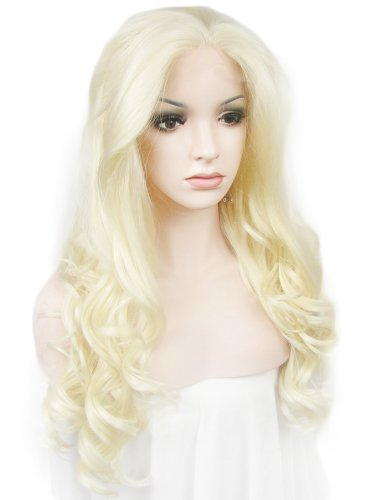 Imstyle lumineux Eau de Javel Blond Perruque Celebrity Coiffure synthétique Perruque lace front longue Christina Aquilera Style Wavy Texture Cosplay
