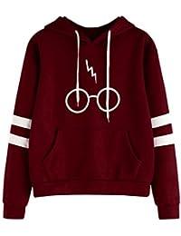 Lonshell Sweater Femme Automne Hiver Tops À Manches Longues Encapuchonné Sweat-Shirt Harry Potter Imprimé Lunettes Sweats À Capuche Chemisiers Pull Sweatshirts Sweats De Hoodie