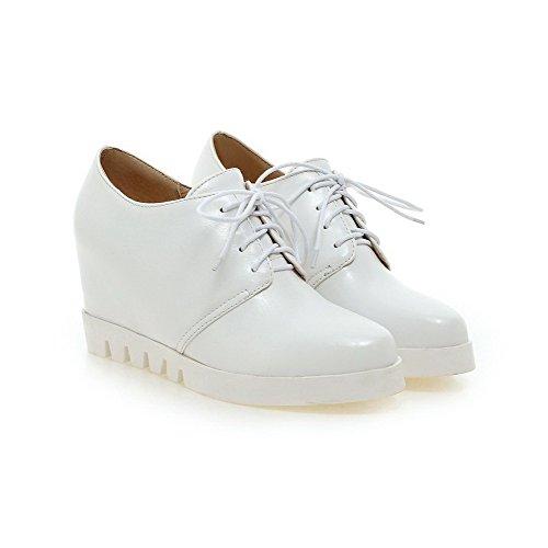 VogueZone009 Damen Rein Weiches Material Hoher Absatz Schnüren Pumps Schuhe Weiß