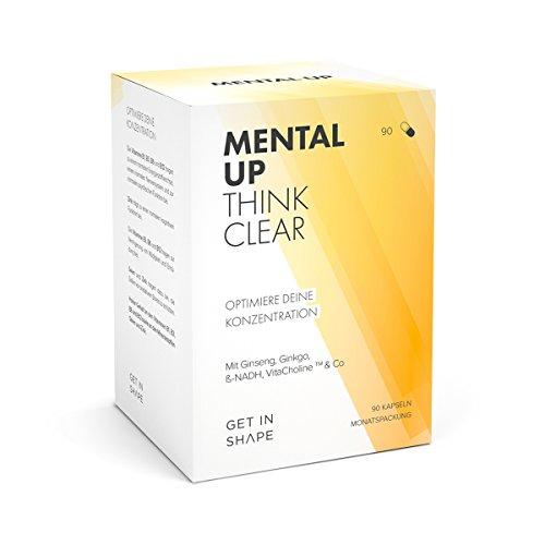 MENTAL UP - Optimiere deine Konzentration und geistige Leistungsfähigkeit, mit Ginko, Ginseng, ß-NADH, B-Vitaminen, Zink und Selen (90 Kapseln, vegane Kapselhüllen).