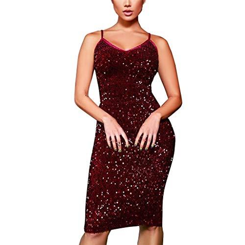 AmyGline Damen Sexy figurbetontes Kleid Sling Nightclub Partykleid Pailletten Kleid Cocktailkleid Glänzend Maxikleider