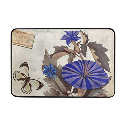 Flower Butterfly Doormat Indoor/Outdoor Washable Garden Office Door Mat,Kitchen Dining Living Hallway Bathroom Pet Entry Rugs with Non Slip Backing - Butterfly Garden Tray