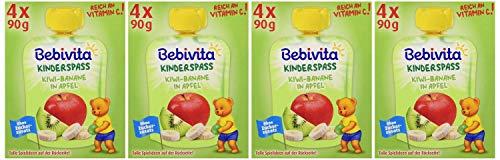 Bebivita Kinder-Spaß, Kiwi-Banane in Apfel, 4er Pack (4 x 4 x 90 g)