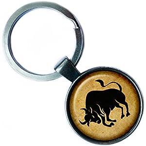 Zodiac Taurus Tierkreis Stier Silver Keychain Silber Schlüsselanhänger