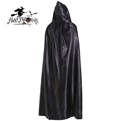 Extra langer Halloween Kap Kapuzenmantel Mantel lang Wicca Robe mit bodenlangen Teufel Cosplay Kostüm Party verkleiden sich für Erwachsene(schwarz)