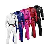 Dr. KO BJJ Gi Kimono brésilien Jiu Jitsu - Matériau de qualité supérieure -100% Coton ; pour Homme et Femme, Couleur: Noir, Bleu, Rouge, Blanc; Taille: A1 A2 A3 (Rouge, A3)