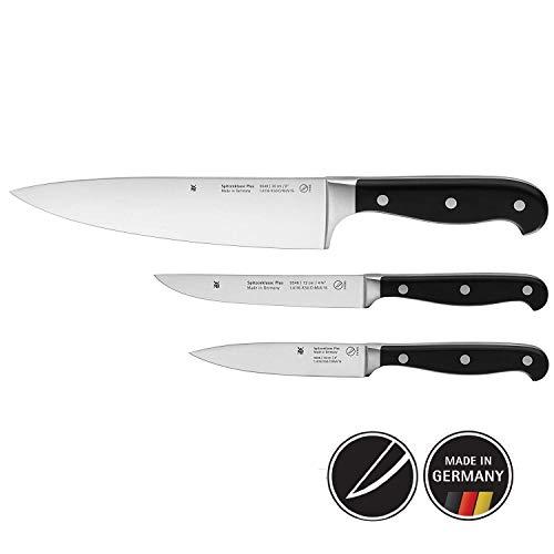 WMF Spitzenklasse Plus Messerset 3-teilig, 3 Messer, Küchenmesser geschmiedet, Performance Cut, Kochmesser, Steakmesser, Allzweckmesser