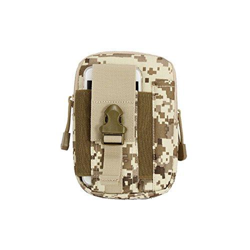 ouksome Tactical MOLLE EDC Tasche Kompakt Outdoor Mehrzweck-Utility Gadget Werkzeug Gürtel Taille Tasche Pack Desert Digital