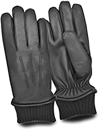 Mens Leather Winter Classic Gloves With Knitted Warmth Fleece Cuff Genuine Leather