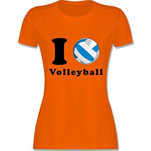 Volleyball - I Love Volleyball - tailliertes Premium T-Shirt mit Rundhalsausschnitt für Damen Orange