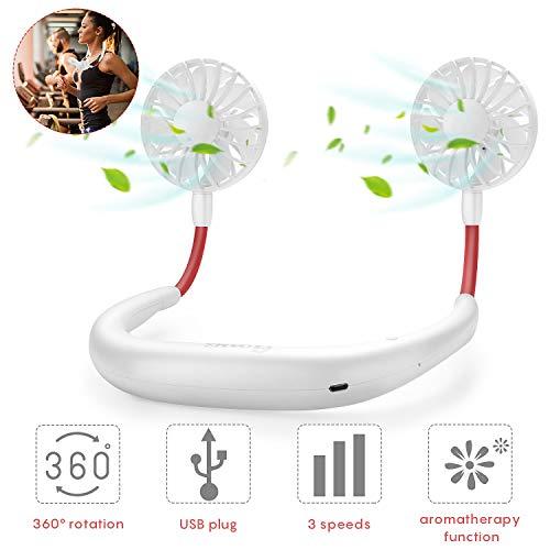 GOAMZ USB Ventilator Tragbare Ventilator mit Aromatherapie USB Fan Handsfree für Wandern, Reisen, Arbeiten, Sommer Outdoor Sport, 3 Stufen, 2-6 Std. 2000 mAh aufladbarer Batterie -