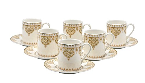 Bone China Porzellan Espresso Turkish Coffee Demitasse Set von 6 Arabesque Muster Tassen + Untertassen fein Demi-tasse, 3 oz, 80 ml gold Gold Demitasse Cup