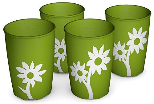 Ornamin Becher mit Anti-Rutsch Blume 220 ml grün/weiß 4er-Set (Modell 820) / Trinkbecher, Pflege-Becher, Kinderbecher