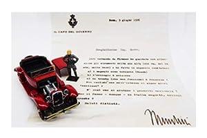Rio- Alfa 1750 Torpedo Mussolini al ing.Nicola Romeo-with Mussulini Figure and Letter Modellino, Color Rojo, RIO4606/P
