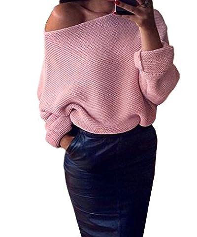Femme Automne-Hiver Épaule Nu Pull Chandails Manches Longues Casual Col Bateau Pull-over Sweater Jumper Sweat-shirt Laine Tops En Tricots Couleur Unie Monissy