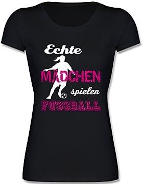 Shirtracer Sport Kind - Echte Mädchen Spielen Fußball Weiß - Mädchen T-Shirt