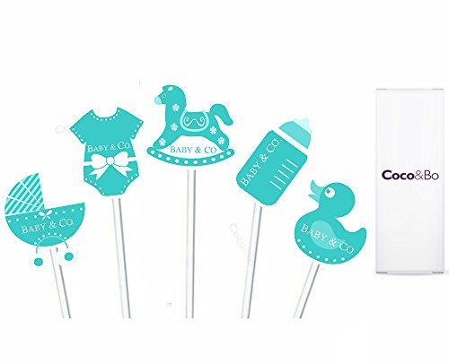 Baby & Co Cupcake Picks/Topper – Breakfast at Tiffany 's Baby Dusche, chirstening Party Tisch Kuchen Dekorationen (Breakfast At Tiffany ' S Party Supplies)