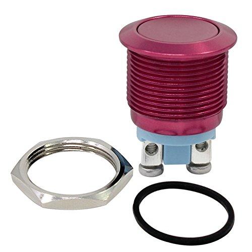 PsmGoods® 19mm 12V Wasserdicht Metall-Kreis-Rast Momentary Push Button Horn-Schalter Auto Schalter (Rot) Elektrische Push Button