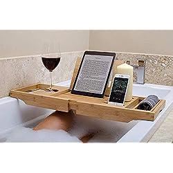 bathbü Pont de Baignoire Bambou Luxe | Bras Jambes Extensibles, Support Livre/Tablette, Téléphone Portable, Verre de Vin, Plateau pour Accessoires