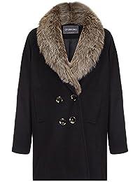 Anastasia Black Women Fur Collar Winter Coat