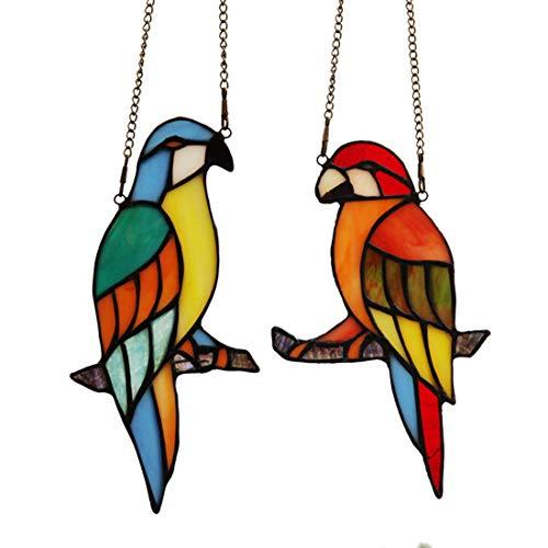 makenier Tiffany-Stil gebeizt Glas rot und blau Papageien Fenster Aufhängen Sun Catcher -