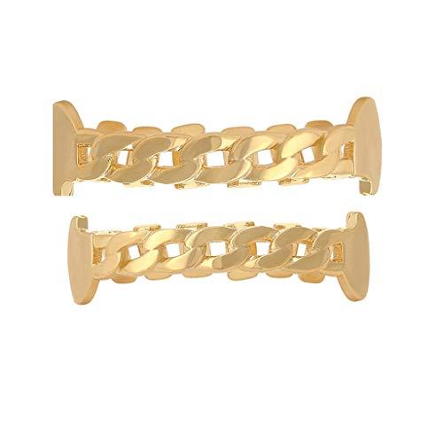QSGZ Hip-Hop-Zahnspange Kette aushöhlen Goldspangen Halloween-Kostüme große Goldzähne (Design : (Kostüm Zahnspangen)