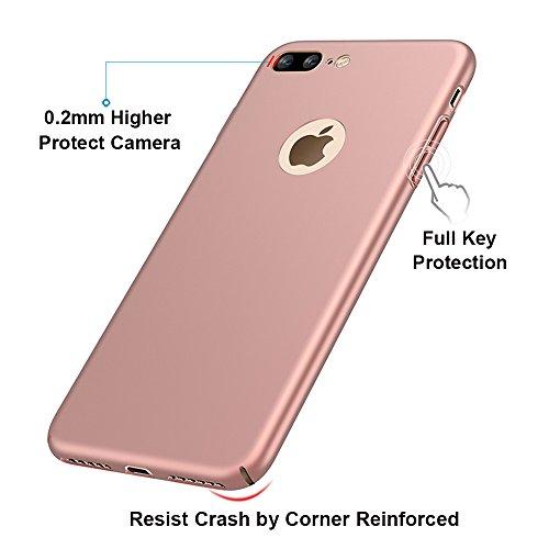 """Argent Très Mince Coque Etui Housse Case + Protecteur écran Pour Apple iPhone 8 Plus (5.5"""") Vooway® MS70464 Or rose"""