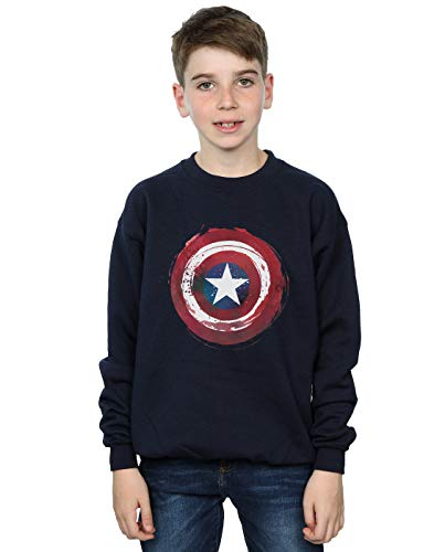 Marvel Jungen Captain America Splatter Shield Sweatshirt Navy Blau 12-13 Years (America-shield Captain Kinder)