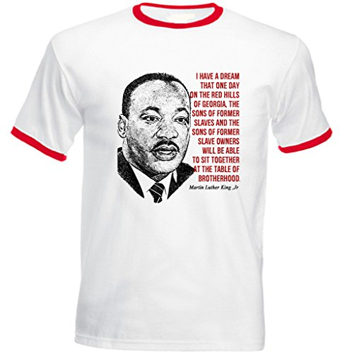 Jr Ringer (Teesquare1st Men's MARTIN LUTHER KING JR Red Ringer T-Shirt Size XXLarge)