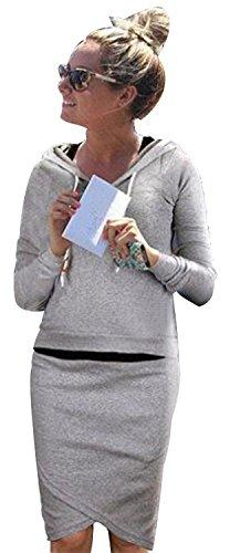 Minetom Herbst Sommer Frauen casual dress Anzug Baseball Sweatshirt-Kapuzenpullover Trainingsanzüge Sportbekleidung Kleidungssatz Hellgrau