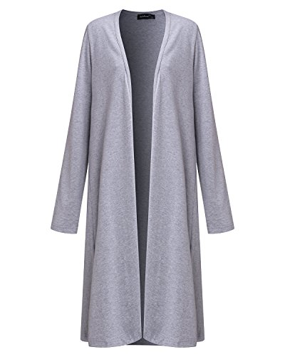 Styledome Damen Offen Langarm Wasserfall Cardigan Cover Up Casual Outwear Jumper Lose Asymmetrisch Trench Coats Strickjacke Grau717134