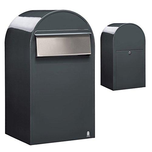 Bobi Grande B Briefkasten RAL 7016 grau, Klappe aus Edelstahl Zaunbriefkasten
