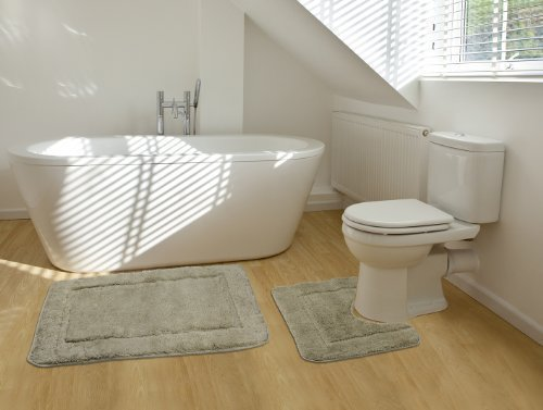 2 Teiliges Badematten Set Rechteckiges Badezimmer Teppich Und Toiletten Matte Sett - Beige