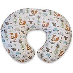 Chicco Boppy- Cojín de lactancia algodón, ergonómico, indeformable y optima adaptabilidad, de 0 a 12 meses, estampado animales modern woodland, almohada de lactancia