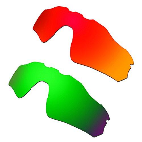 HKUCO Mens Replacement Lenses For Oakley Radar EV Path Red/Emerald Green Sunglasses