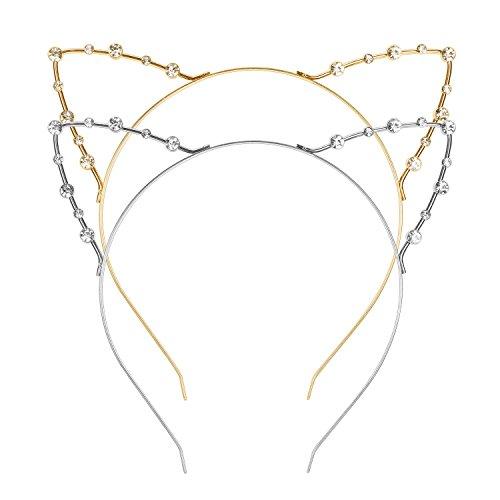 Kristall Strass Metall Katze Ohr Stirnband Haarreif, 2 Stück, Golden und Silbern
