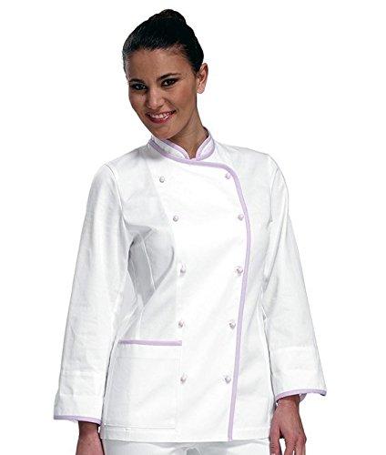 """SIGGI - Giacca cuoca """"Kiko"""" in cotone 100% drill sanfor, colori vari. Peso al mq. gr. 190 - Taglia: XXXL - Varianti: bianco-lilla"""
