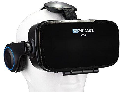 VR Brille VR-Primus VA4 | VR-Headset für Smartphone \'s z.B. iPhone,iOS,Android Handy \'s,HTC,Sony,LG,Huawei,Samsung,7,8,9 | Kopfhörer,Steuerknopf,Einstellbar,QR Code,3D | Google Cardboard App |Schwarz