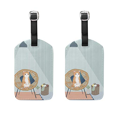 Cute Cat Watercolor Painting Travel Kofferanhänger Lovely Animal Cartoon Colorful Fairy Tale Suitcase Bag Tags Carry-On ID Tags with Black Strap 89tAGS530 -
