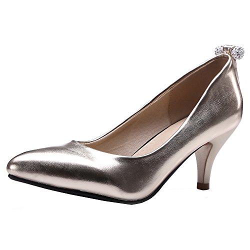 YE Damen Spitze Stiletto Mid Heel Party Pumps mit Crystal Schlicht und Elegant Schuhe Gold