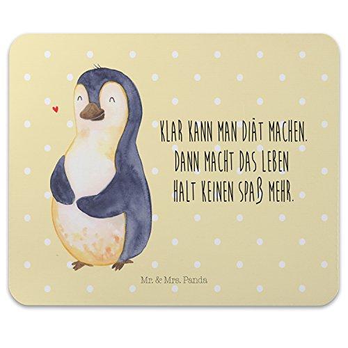 Mr. & Mrs. Panda Geschenk, Computer, Mauspad Pinguin Diät mit Spruch - Farbe Gelb Pastell -