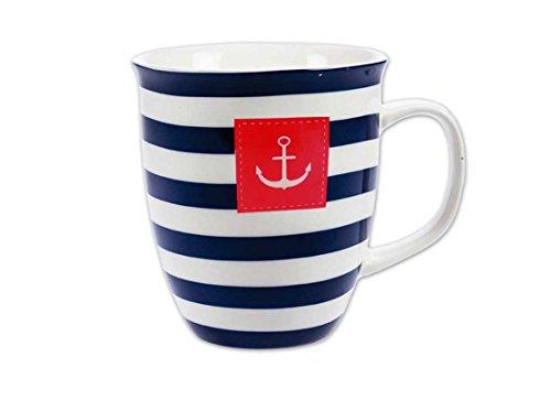 Tony Brown | Maritime Kaffeetasse | Streifen mit Anker | extra Groß 500 ml | Porzellan (blau, 1)