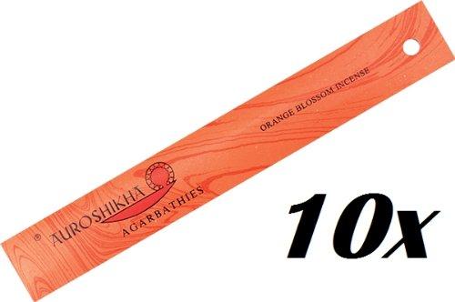 10er PACK Orangenblüte (Orange Blossom) - AUROSHIKHA Räucherstäbchen, 100 g - Orange Blossom Duft