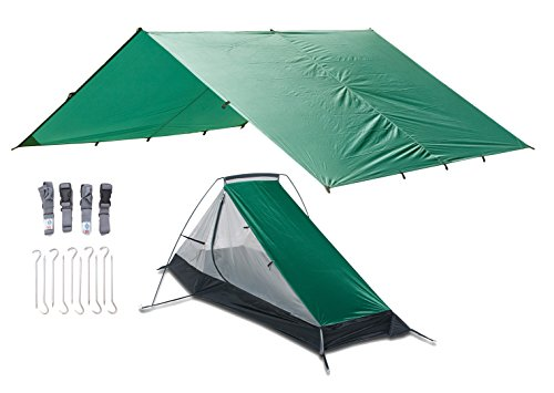 Aqua Quest West Coast Combo - 100% Waterproof & Breathable Ultralight Camping System - One Person Single Pole Bivy Tent + Large Sil Nylon Tarp + Strap Set - Comfortable, Compact, Easy Setup, by Aqua Quest