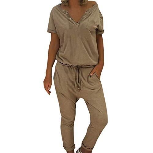 KIMODO® Damen Jumpsuit mit V-Ausschnitt, lose Lange Hose in Übergröße, einfarbig Sport Freizeitspielanzug mit Taschen -