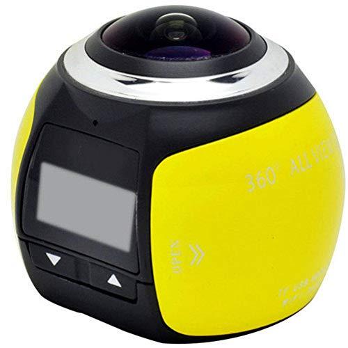 GJJ 360 Panoramakamera - Fahrtenschreiber VR Unterwasserkamera - Bewegungskamera Digitalkamera - 360 Sport DV,Gelb,A