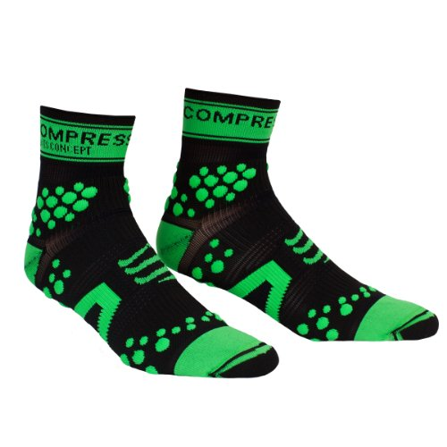 Compressport Pro Racing V2 Trail Hi Calzini Nero/Verde, M/T2