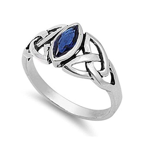 Ring aus Sterlingsilber mit Zirkonia - Keltisches Design (Ring Gold Für 14k Stein Männer Blau)
