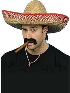 Mexican Bandit Gringo Straw Sombrero Hat Cigar & Self Adhesive Moustache Set Fancy Dress Costume Accessories