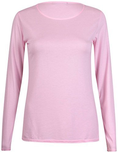 New Ladies Plain Stretch Fit Long Sleeve Womens T-Shirt Round Neck Basic Top Pink Size 12 - 14
